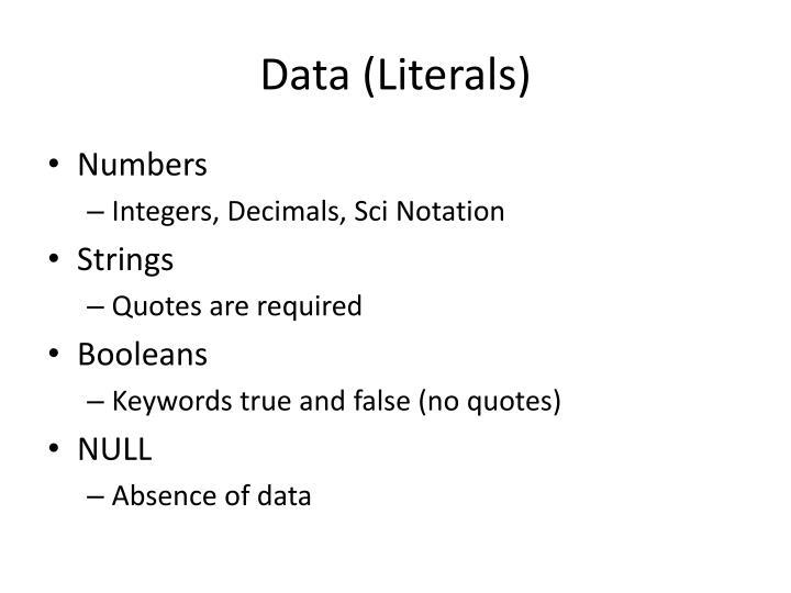 Data (Literals)