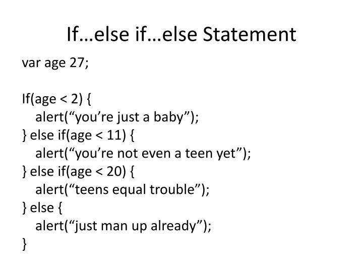 If…else if…else Statement