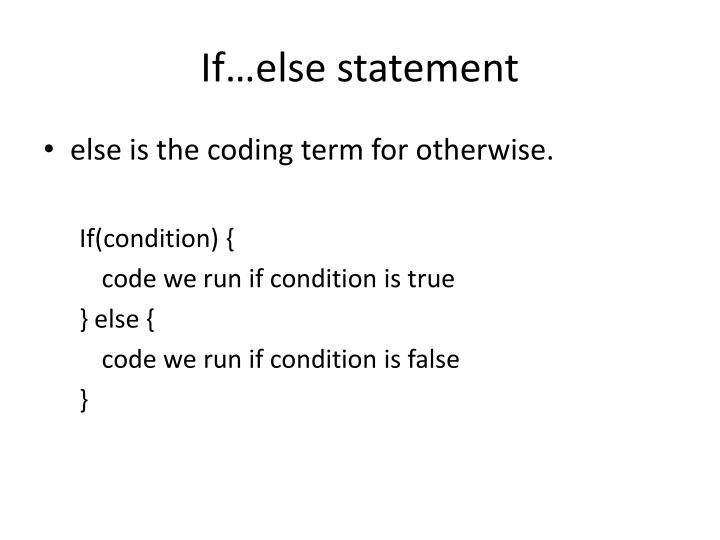 If…else statement