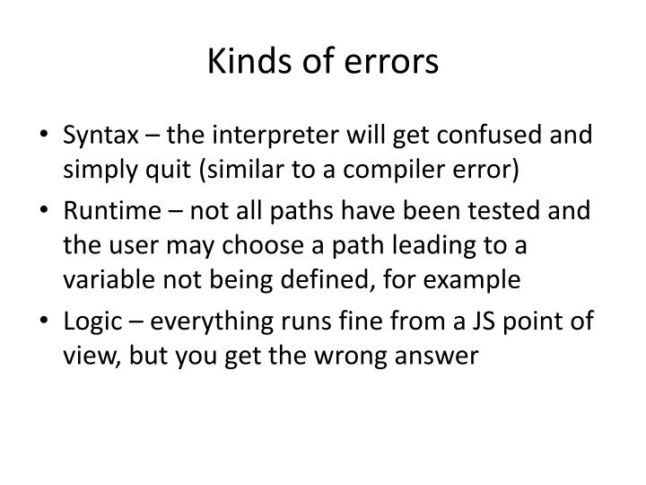 Kinds of errors
