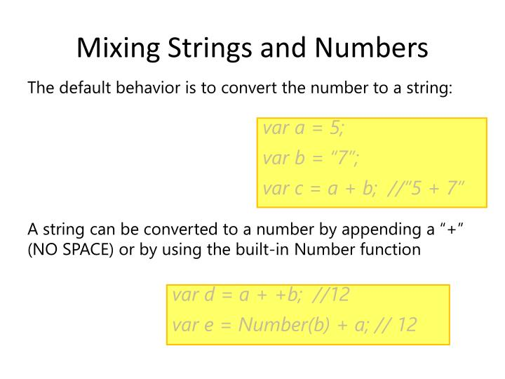 Mixing Strings and Numbers