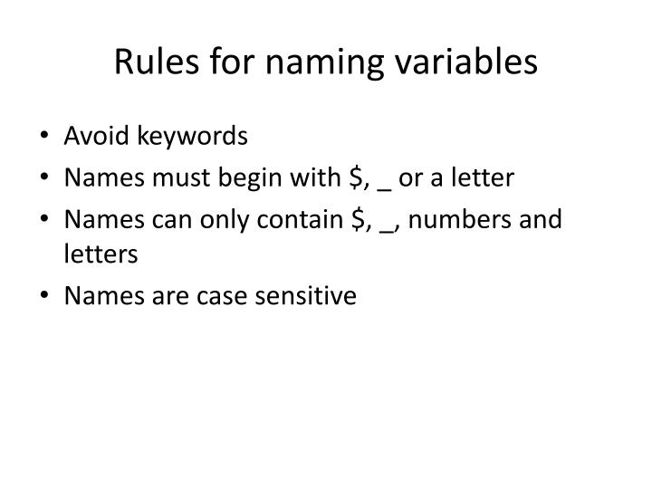Rules for naming variables