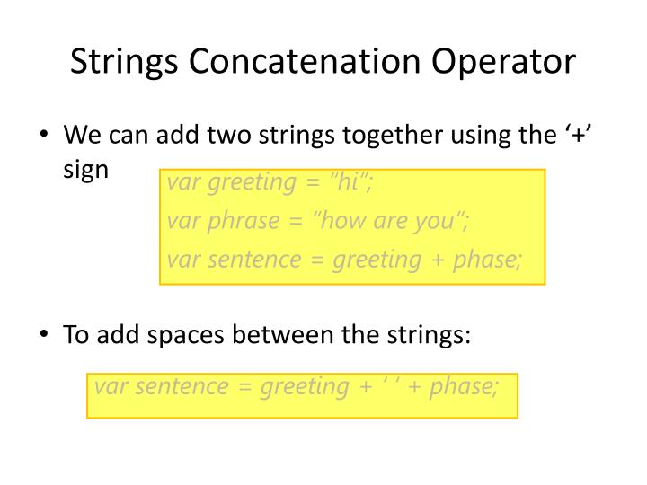 Strings Concatenation Operator