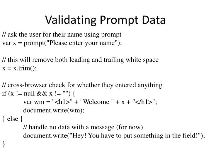 Validating Prompt Data