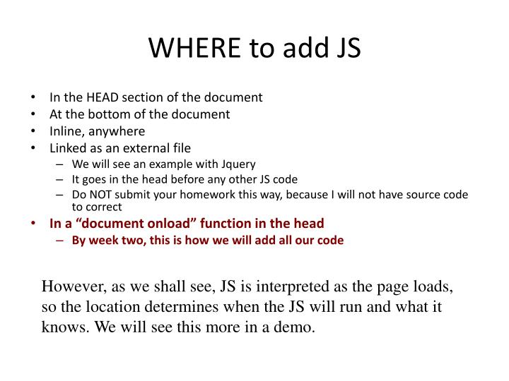 WHERE to add JS
