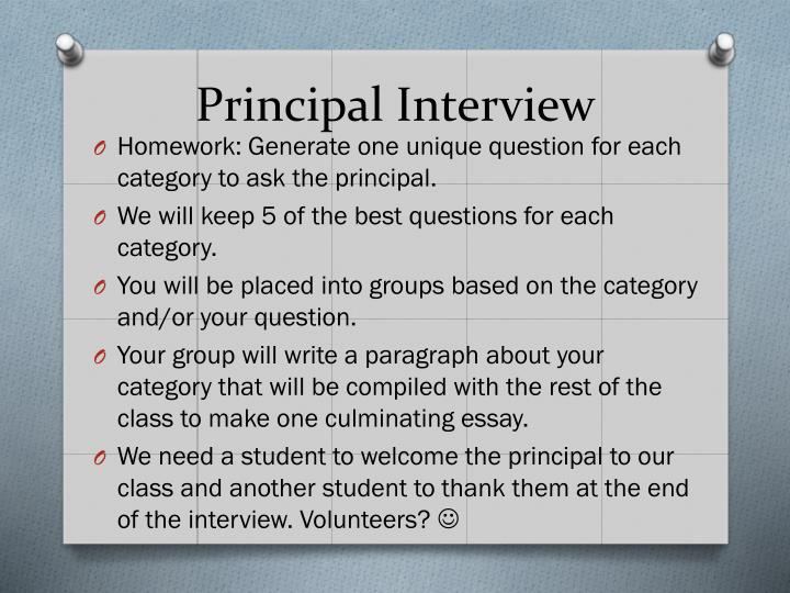 Principal interview