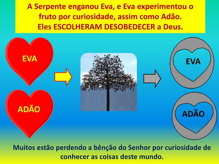 A Serpente enganou Eva, e Eva experimentou o fruto