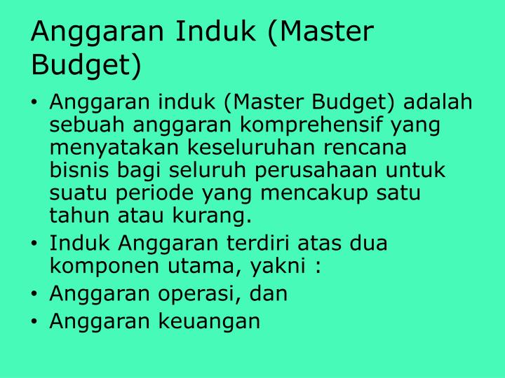 Anggaran Induk (Master Budget)