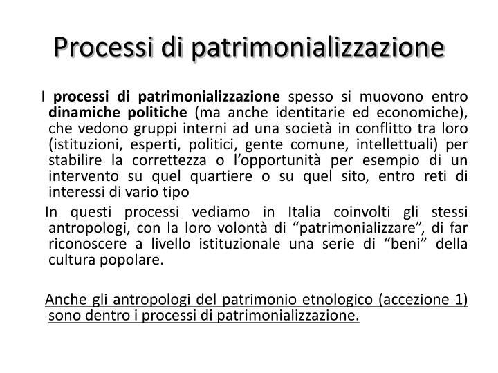 Processi di patrimonializzazione
