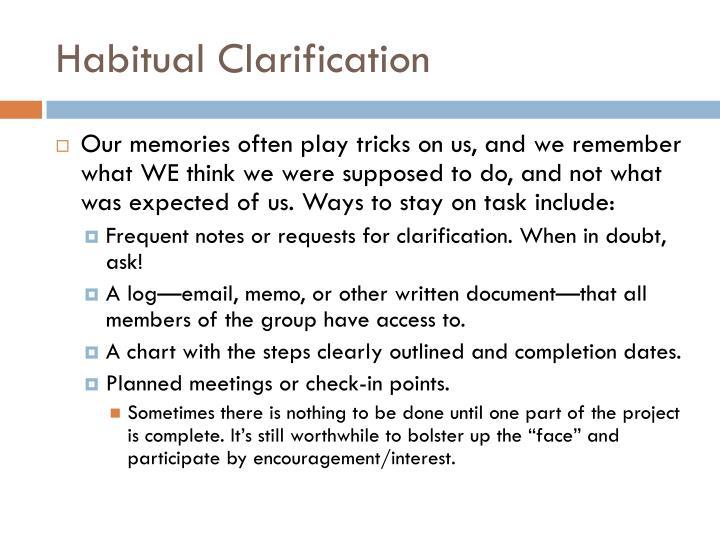 Habitual Clarification