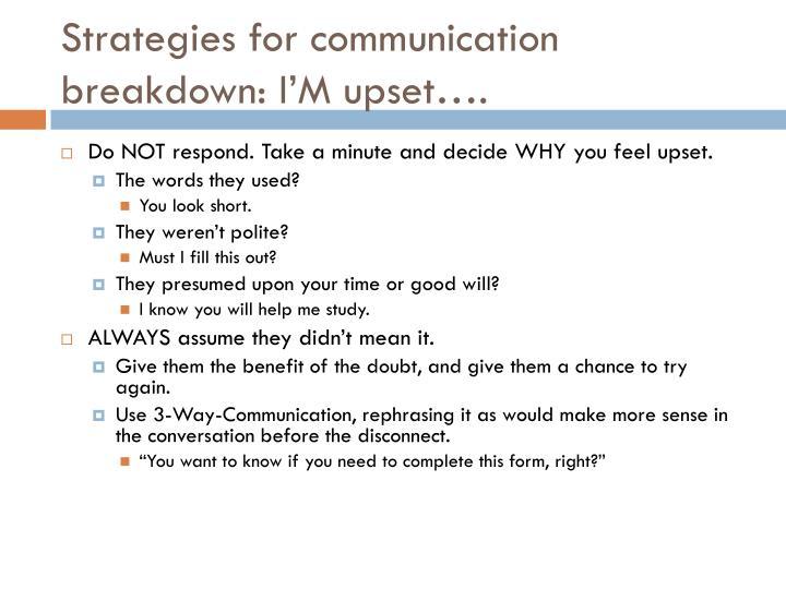 Strategies for communication breakdown: I'M upset….