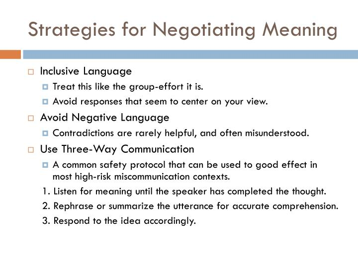 Strategies for Negotiating Meaning