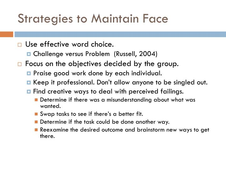 Strategies to Maintain Face