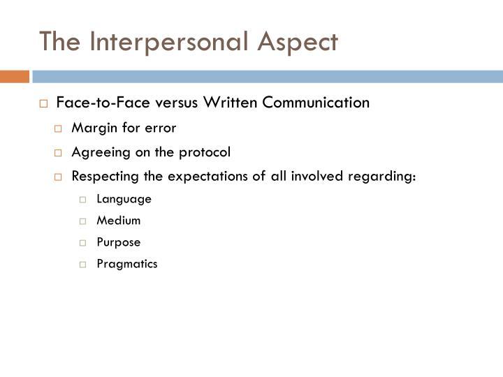 The Interpersonal Aspect