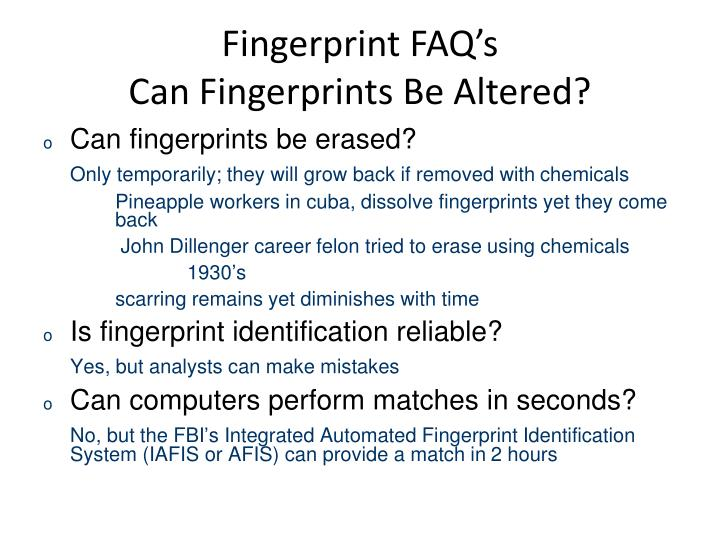 Fingerprint FAQ's