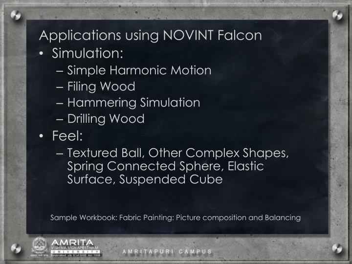 Applications using NOVINT Falcon