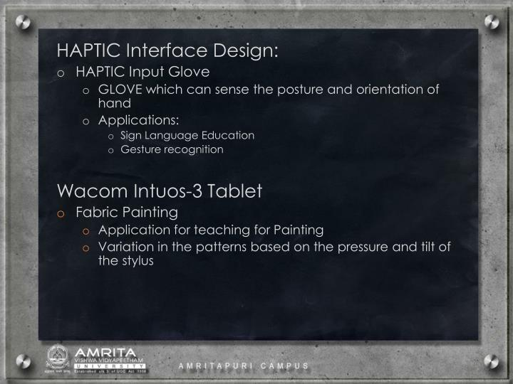 HAPTIC Interface Design: