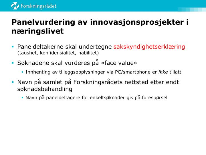 Panelvurdering av innovasjonsprosjekter i næringslivet