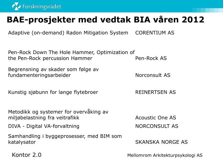 BAE-prosjekter med vedtak BIA våren 2012