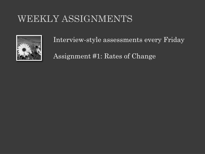 Interview-style assessments every Friday