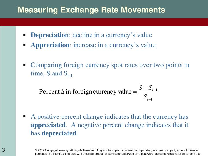 depreciation of a currency How to calculate currency depreciation currency depreciation has two meanings the first one is inflation (the loss of value of a currency over a period of time) the second one is the loss of value of one currency against another.
