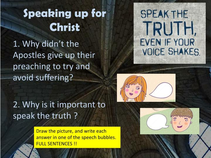 Speaking up for Christ