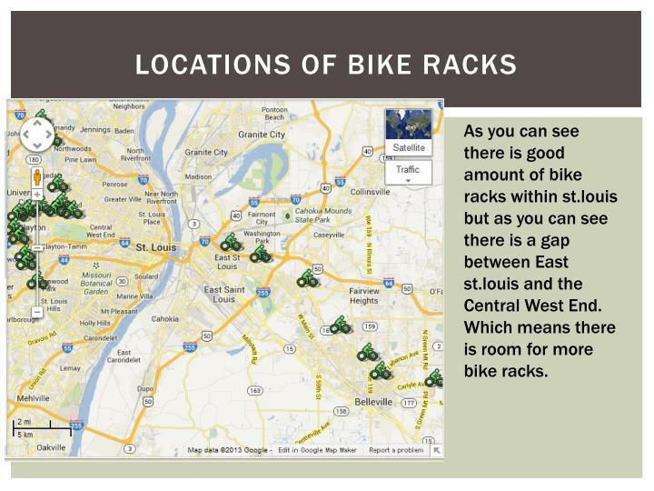 Locations of bike racks