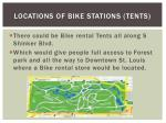 locations of bike stations tents