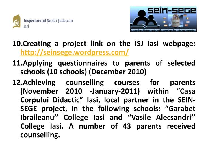 10.Creating a project link on the ISJ Iasi webpage: