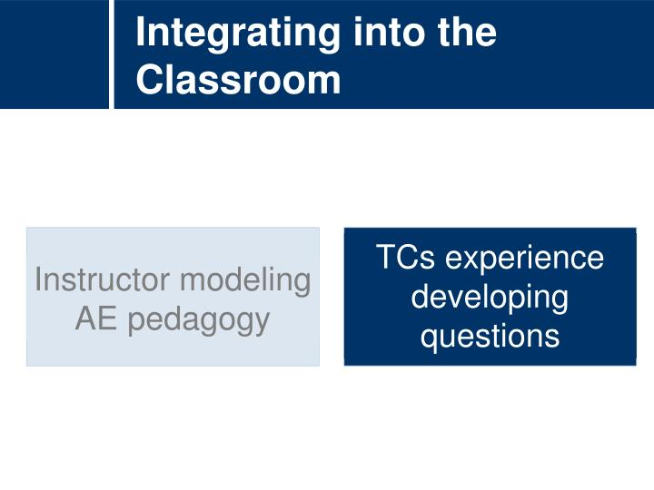Integrating into the Classroom