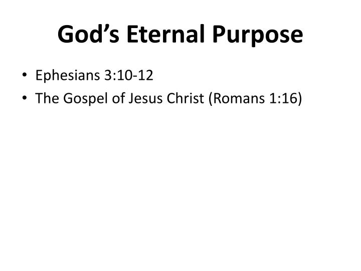 God s eternal purpose