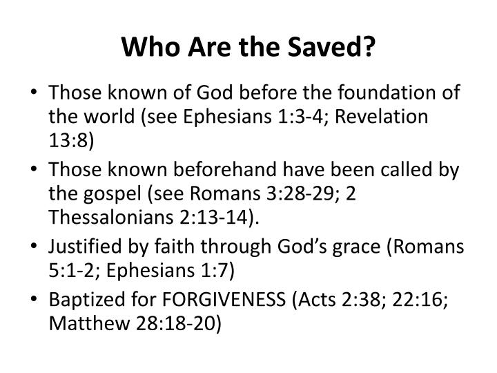 Who Are the Saved?