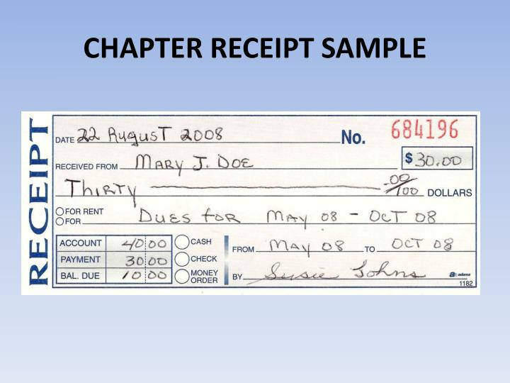 CHAPTER RECEIPT SAMPLE