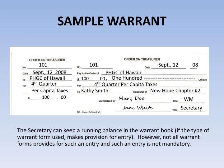 SAMPLE WARRANT