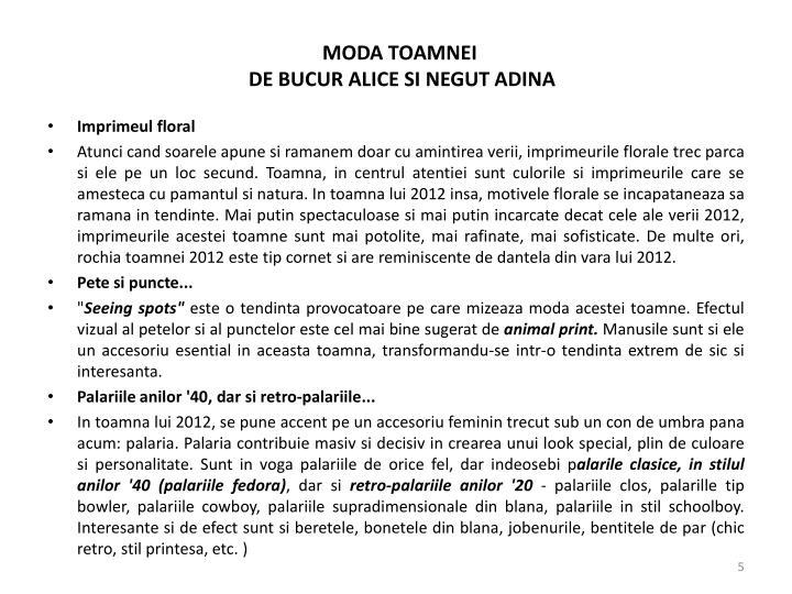 MODA TOAMNEI
