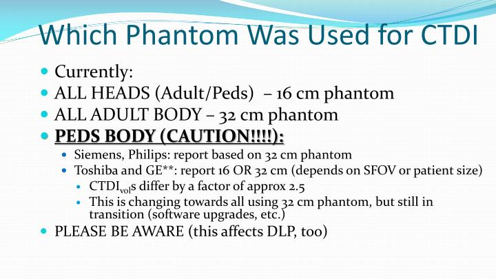 Which Phantom Was Used for CTDI