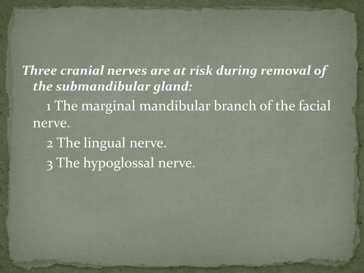 Three cranial nerves are at risk during removal of the