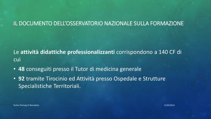 Il documento dell'osservatorio nazionale sulla formazione