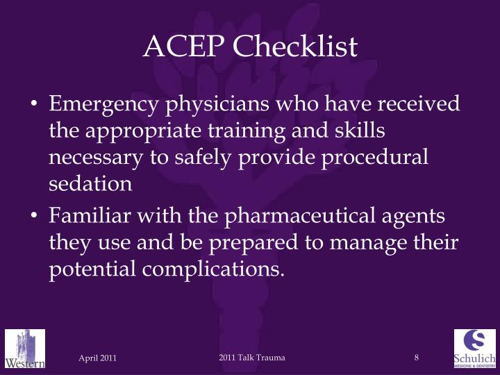 ACEP Checklist