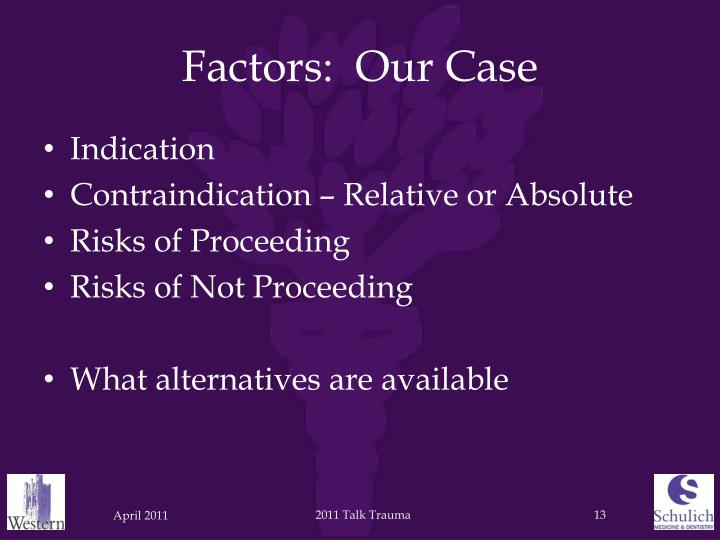 Factors:  Our Case