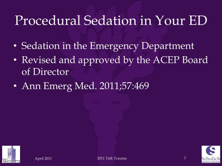Procedural Sedation in Your ED