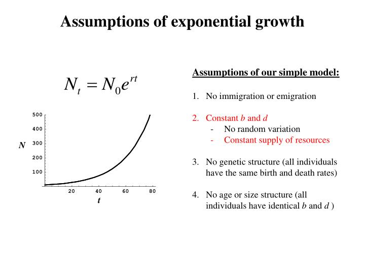 Assumptions of exponential growth