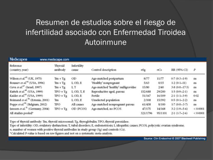 Resumen de estudios sobre el riesgo de infertilidad asociado con Enfermedad Tiroidea Autoinmune