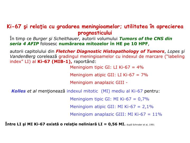Ki-67 şi relaţia cu gradarea meningioamelor; utilitatea în aprecierea prognosticului