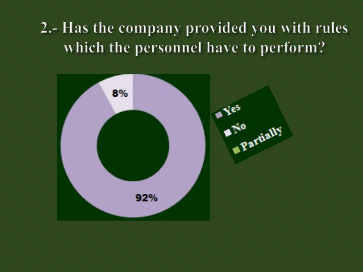2.- Has the company provided you with rules which the personnel have to perform?