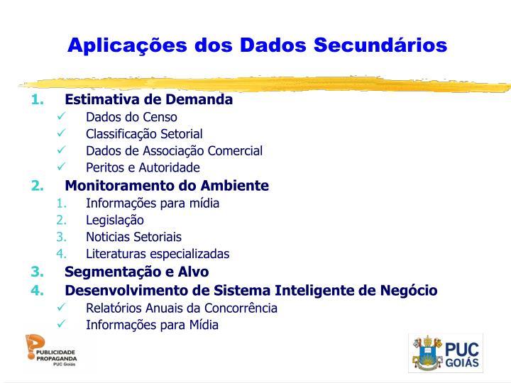 Aplicações dos Dados Secundários