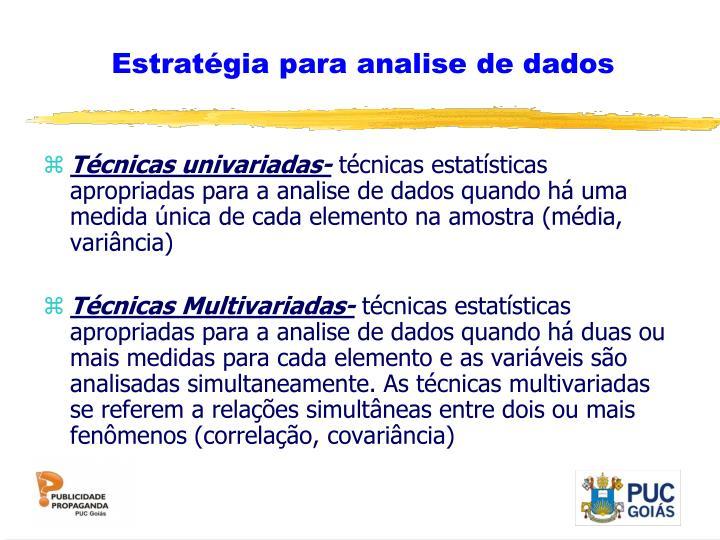 Estratégia para analise de dados