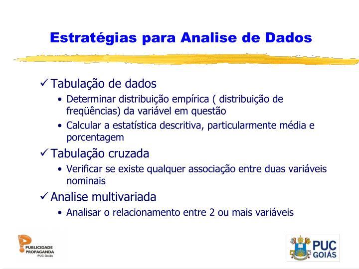 Estratégias para Analise de Dados