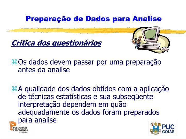 Preparação de Dados para Analise
