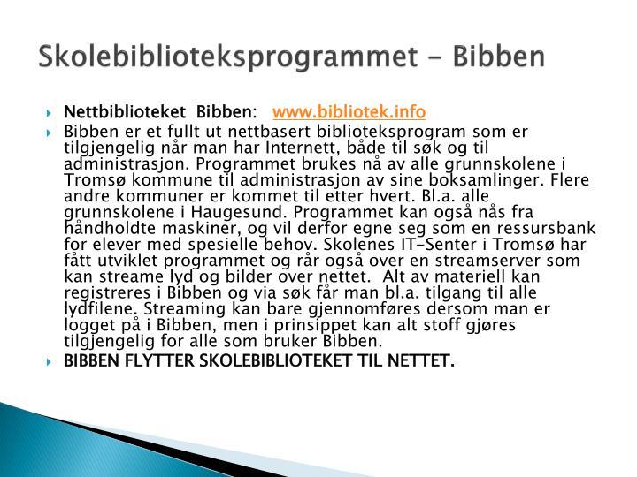 Skolebiblioteksprogrammet - Bibben